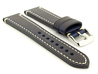 Genuine Leather WATCH STRAP Catalonia WAXED LINING Navy Blue/White 22mm