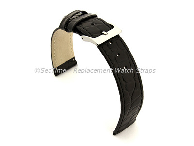 Genuine Leather Watch Strap Croco Arizona Black 22mm