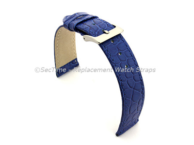 Genuine Leather Watch Strap Croco Arizona Blue 20mm