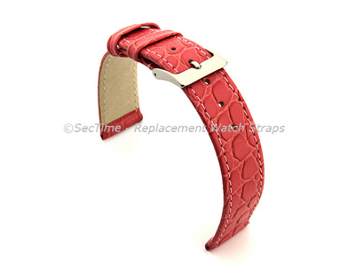 Genuine Leather Watch Strap Croco Arizona Pink 12mm