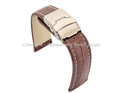 Genuine Leather Watch Strap Band Croco Deployment Clasp Dark Brown / White 18mm