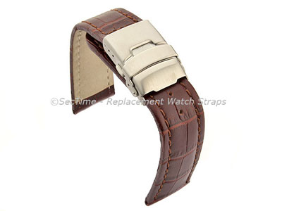 Genuine Leather Watch Strap Croco Deployment Clasp Dark Brown / Brown 20mm