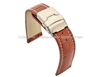 Genuine Leather Watch Strap Croco Deployment Clasp Brown / White 20mm