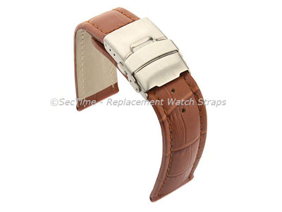 Genuine Leather Watch Strap Band Croco Deployment Clasp Brown / Brown 18mm