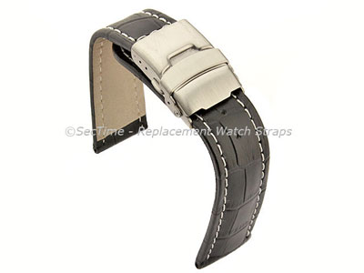 Genuine Leather Watch Strap Croco Deployment Clasp Black / White 20mm
