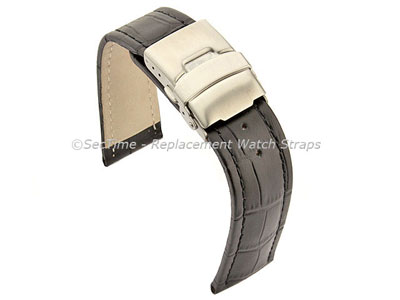 Genuine Leather Watch Strap Croco Deployment Clasp Black / Black 20mm