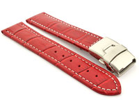 Genuine Leather Watch Strap Band Croco Deployment Clasp Red / White 18mm