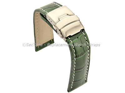 Genuine Leather Watch Strap Band Croco Deployment Clasp Glossy Green/White 18mm