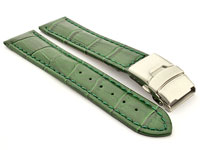 Genuine Leather Watch Strap Croco Deployment Clasp Glossy Green / Green 24mm