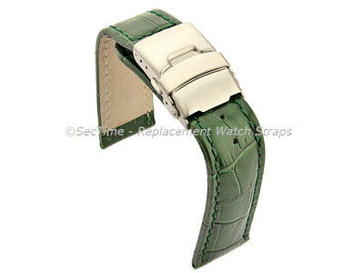 Genuine Leather Watch Strap Croco Deployment Clasp Glossy Green / Green 20mm