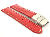 Genuine Leather Watch Band Croco Deployment Clasp Glossy Red / White 22mm