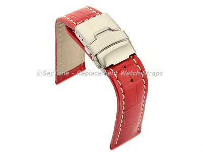 Genuine Leather Watch Strap Band Croco Deployment Clasp Glossy Red / White 18mm