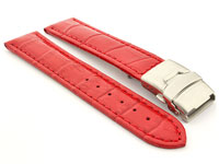 Genuine Leather Watch Band Croco Deployment Clasp Glossy Red / Red 26mm