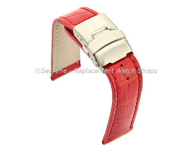 Genuine Leather Watch Strap Band Croco Deployment Clasp Glossy Red / Red 18mm