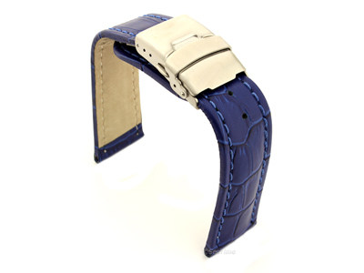 Genuine Leather Watch Strap Croco Deployment Clasp Blue / Blue 20mm