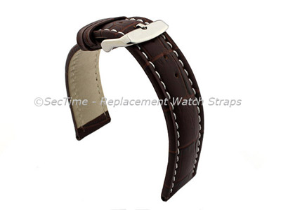 Leather Watch Strap CROCO RM Dark Brown/White 24mm