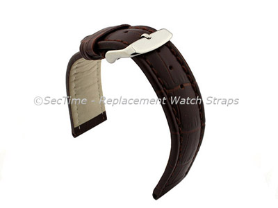 Leather Watch Strap CROCO RM Dark Brown/Brown 24mm