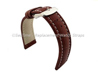 Leather Watch Strap CROCO RM Brown/White 24mm