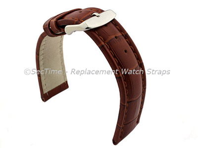 Leather Watch Strap CROCO RM Brown/Brown 24mm