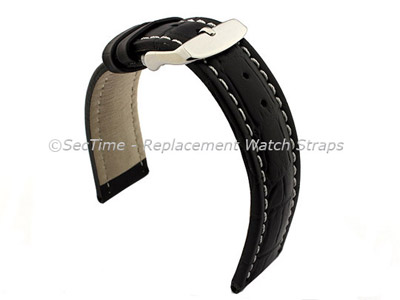 Leather Watch Strap CROCO RM Black/White 24mm