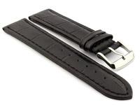 Leather Watch Strap CROCO RM Black/Black 22mm