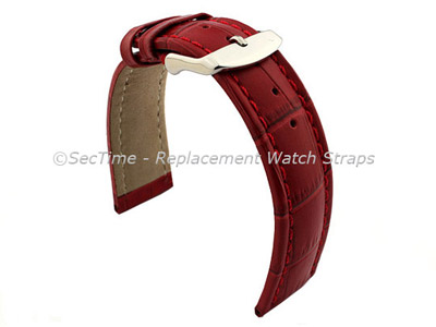 Leather Watch Strap CROCO RM Red/Red 24mm