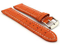 Leather Watch Strap CROCO RM Orange/White 20mm