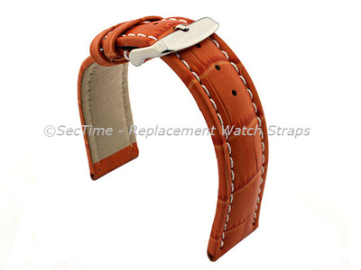 Leather Watch Strap CROCO RM Orange/White 22mm