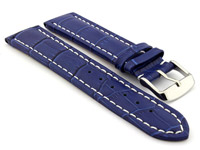 Leather Watch Strap CROCO RM Blue/White 18mm