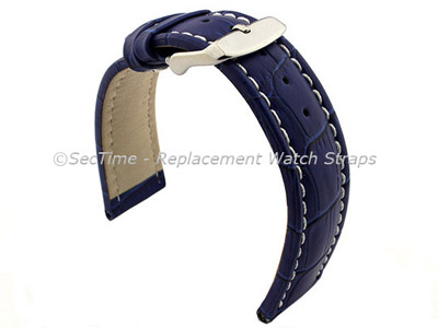 Leather Watch Strap CROCO RM Blue/White 24mm