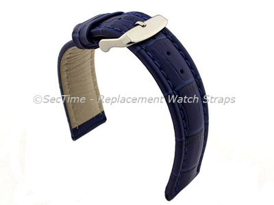 Leather Watch Strap CROCO RM Blue/Blue 24mm