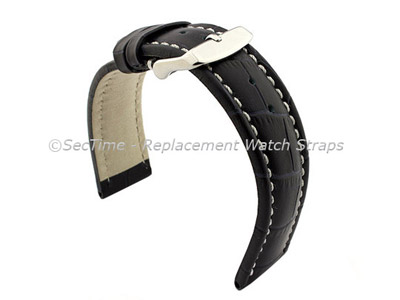 Leather Watch Strap CROCO RM Navy Blue/White 24mm