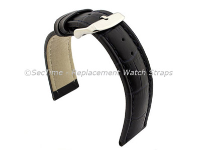 Leather Watch Strap CROCO RM Navy Blue/Blue 24mm