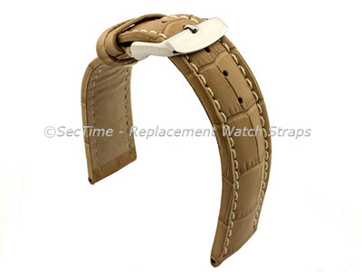 Leather Watch Strap CROCO RM Cream/White 24mm