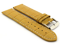Leather Watch Strap CROCO RM Yellow/White 20mm