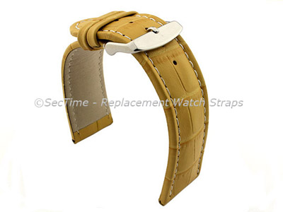 Leather Watch Strap CROCO RM Yellow/White 24mm