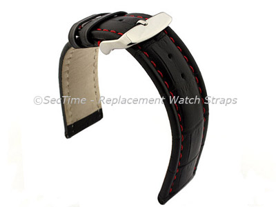 Leather Watch Strap CROCO RM Black/Red 24mm