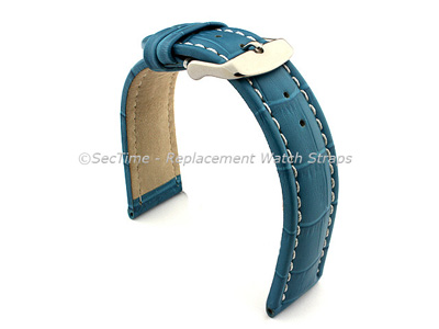 Leather Watch Strap CROCO RM Turquoise / White 24mm