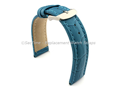 Leather Watch Strap CROCO RM Turquoise / Turquoise 24mm