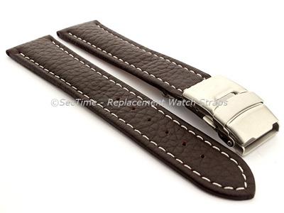 Genuine Leather Watch Strap Freiburg Deployment Clasp  Dark Brown / White 22mm