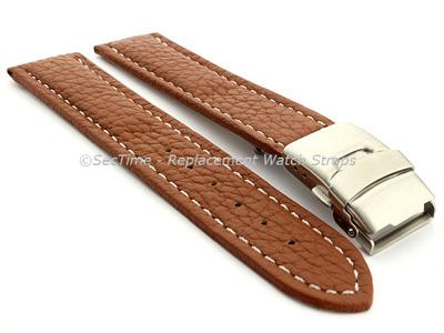 Genuine Leather Watch Strap Freiburg Deployment Clasp  Brown / White 22mm
