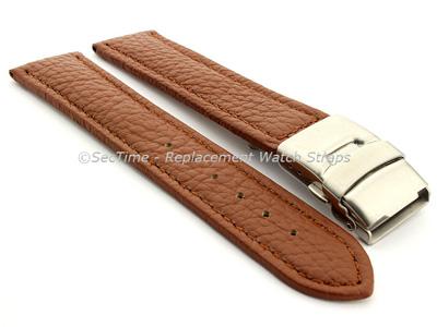 Genuine Leather Watch Strap Freiburg Deployment Clasp  Brown / Brown 22mm