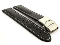 Genuine Leather Watch Strap Freiburg Deployment Clasp  Black / White 22mm