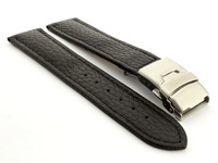 Genuine Leather Watch Strap Freiburg Deployment Clasp  Black / Black 22mm