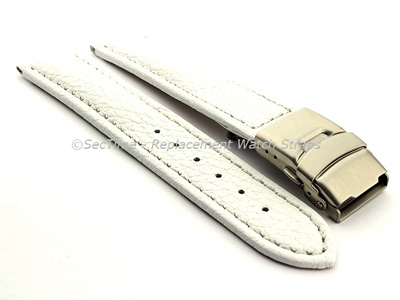 Genuine Leather Watch Strap Freiburg Deployment Clasp  White / White 22mm