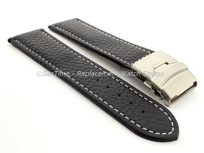 Genuine Leather Watch Strap Freiburg Deployment Clasp  Navy Blue / White 22mm