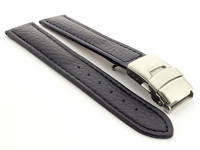 Genuine Leather Watch Strap Freiburg Deployment Clasp  Navy Blue / Blue 22mm