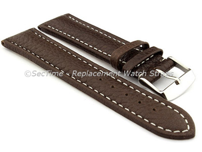 Watch Strap Band Freiburg RM Genuine Leather 22mm Dark Brown/White
