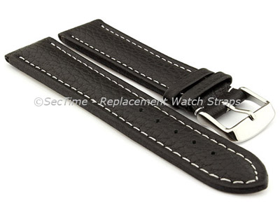 Watch Strap Band Freiburg RM Genuine Leather 22mm Black/White