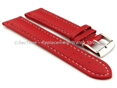Watch Strap Band Freiburg RM Genuine Leather 28mm Red/White